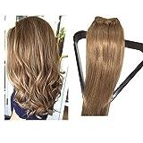 Clip en extensiones de cabello Extensiones verdaderas del pelo humano del 100% Pelo remy para mujeres 7 PCS por juego, Longitud 38cm 45cm 50cm 55cm (38cm, No.12 marrón dorado)