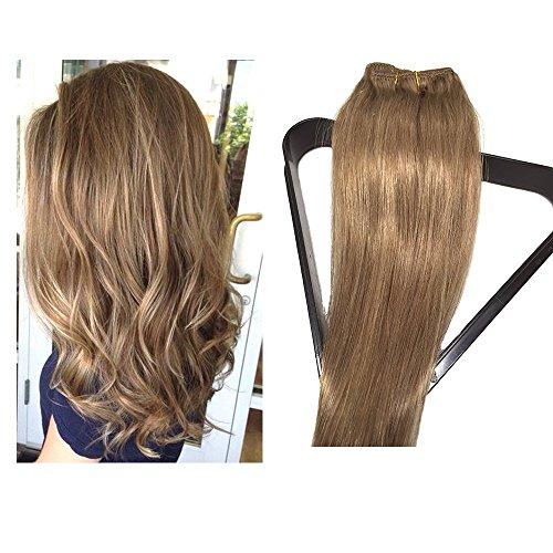 Set Clip en Extensions de cheveux 100% cheveux naturels extension de cheveux remy 7 partie de cheveux en 38,45,50 ou 55 cm longueur des cheveux (50cm, No.12 brun doré)