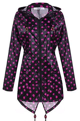 CRAVOG Mode Femme Imperméable A Capuche Imprimé Points Manteau De Pluie Femme Jacket Longue Raincoat Queue De