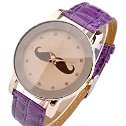 Mustache on a Beige Face with Purple PU Leather Strap Ladies Watch