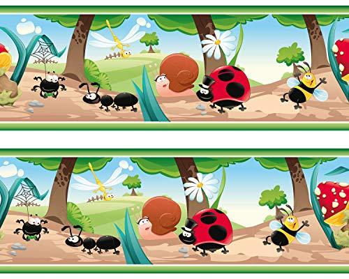 """Kleisterbordüre """"Waldinsekten"""", 4-teilig 520x15cm, Tapetenbordüre, Wandbordüre, Borte, Wanddeko,Kinder, Tiere"""