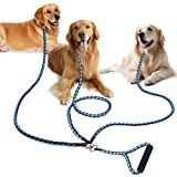 3 Dog Lead, PETBABA 1.4m Reflective Braided Rope Coupler Heavy Duty Multi Way Leash Splitter with Soft Padded Handle to Control Three Doggy Multiple Big Pet for Walk Training in Brown-Light Blue