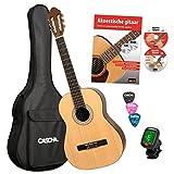 CASCHA HH 2043 NL Guitare Classique 4/4 Bundle, mat naturel, table épicéa, avec livre de guitare en néerlandais, CD, DVD, accordeur, sac rembourré et 3 médiators