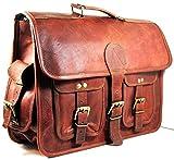 maletín de Cuero Bolsa de Mensajero portátil Bandolera para Hombres y Mujeres (18' Longitud X 13' Altura X 5' Anchura (Pulgada))
