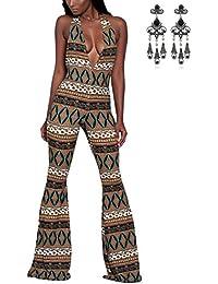 MODETREND Mujer Monos Pantalones Largo con Deep V-Neck Escotado por Detrás Jumpsuit Playsuit Pantalones de Pierna Ancha Siamés Para Clubwear y Coctel Partido