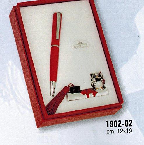 Laurea – penna a sfera e statuina gufo laurea su diploma – bagutta cm 12x19 con scatola rifinita