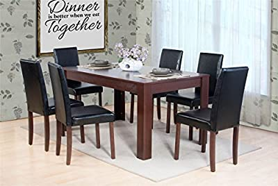 Dover Dark Brown Oak Effect Wooden Dining Table and 6 High Back Chair Set - low-cost UK light shop.