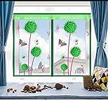 Fliegengitter Für Fenster,Fenster Insekt Bildschirm Grün, Insekt Mesh Fenster, Einfach Zu Öffnen Schließen Vorhang Fliegen Moskitonetze Bildschirm,140*150Cm