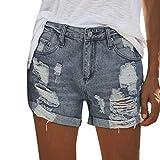 Dasongff Damen Jeansshorts Basic in Aged-Waschung Jeans Bermuda-Shorts Kurze Hosen aus Denim High Waist Kurze Hose mit Quaste Ripped Loch Hotpants Shorts S-3XL