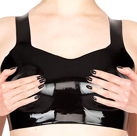 EXLATEX Frauen Latex Gummi-BH mit Nippel L?cher Fetisch Kost¨¹me (Skin Tight Halloween Kostüme)