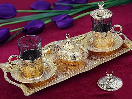 Lussodor 11 tlg 'Magus' Kaffeeservice-Teeservice-Set mit Halbmond Motiv mit Serviertablett aus...