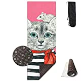 Roue Yoga Mat Non Slip Stiff Cat Classmate Printed 24 X 71 Inches Premium for Fitness Exercise Pilates with Carrying Strap