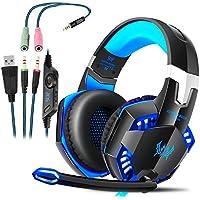 Gaming Kopfhörer für PS4 PC Computer Professioneller 3,5mm Gaming Headset Stereo Sound Mikrofon mit Rauschunterdrückung und Lautstärkeregler Egonomisches Design, geringes Gewicht (Blau)