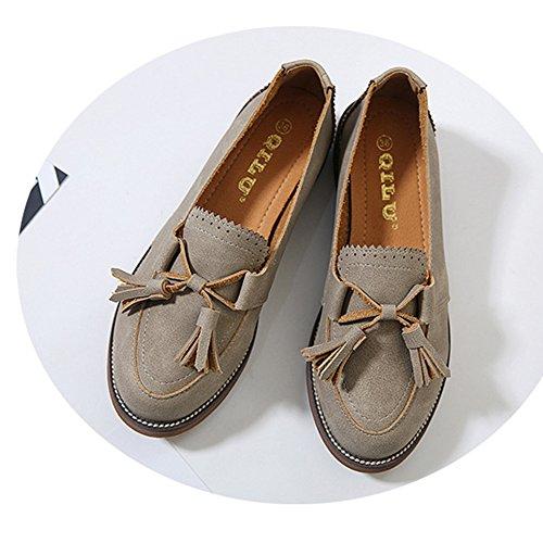 Damen Britische Weich Nubukleder Faul Schuhe Blockabsatz Soft Gummi Sohle Atmungsaktiv Low-Top Schuhe Bräune