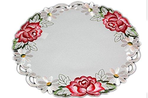 Laura S ® Tischdecke Rund 30 cm Champagner Iris Rose Rot Gestickt Rosendecke Mitteldecke Deckchen Decke (30 cm Rund) (Gestickte Rote Rosen)