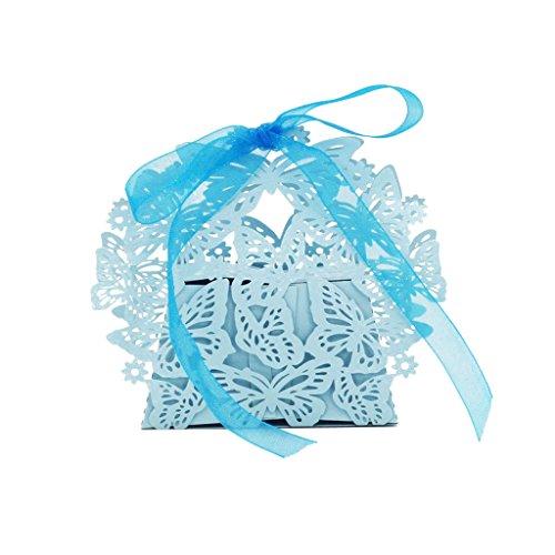 Preisvergleich Produktbild 20x Schmetterling Schnitt Bonbons Süß Box W / Band Hochzeitsfestbevorzugung Geschenk Blau