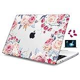"""Batianda Plastik Klar Hartschale Hülle für 2018 MacBook Air 13"""" mit Retina Display (A1932) Laptop-Hardcase-Abdeckung,Rosa Blumen"""