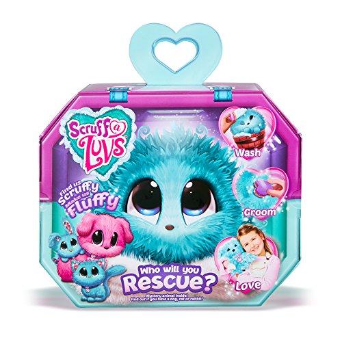 Scruff-A-Luvs 35533 Überraschungs Kuscheltier mit rosa Fell, Plüschtier zum Adoptieren, geheimes Schmusetier, erst durch waschen und liebhaben Wird offenbart, ob Katze, Hund oder Hase, blau -