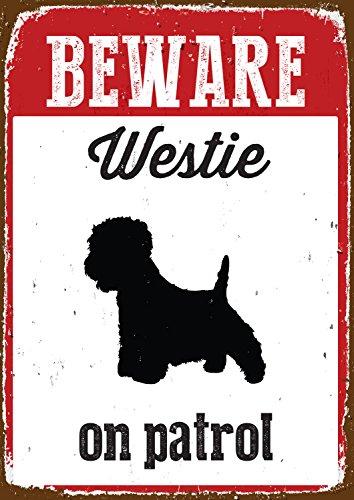 Galleria fotografica Magnete e Acciaio Attenzione Westie ON Patrol Tin Sign