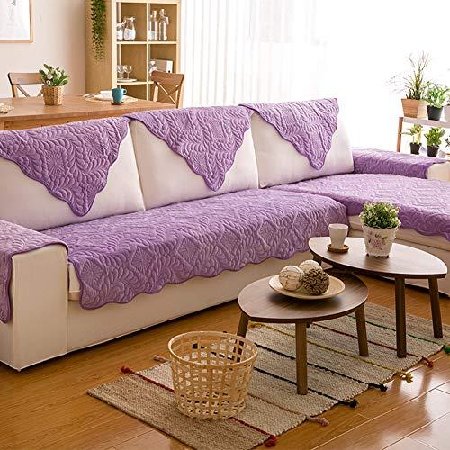 BAIF Schaumstoff-Kissen, Sofakissen aus Baumwolle, gesteppt, rutschfest, für Möbel, dekorativer Kissenbezug mit Überzug, Violett - Gesteppte Baumwolle Kissen-abdeckungen