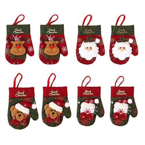 ZOYLINK 8PCS Portaposate natalizie Simpatico portaoggetti a forma di guanto Ornamento per...