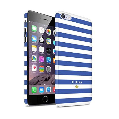 Personalisiert Individuell Streifen/Gestreift Glanz Hülle für Apple iPhone 8 Plus / Nacktes Rosa Herz Design / Initiale/Name/Text Snap-On Schutzhülle/Case/Etui Blau Streifenstern