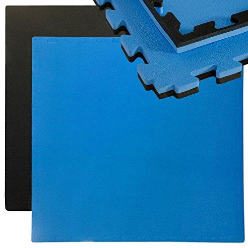 Eyepower 25mm Dicke Bodenschutz-Matte 90x90cm Trainingsmatte Puzzlematte erweiterbare Fitnessmatte inkl Rand Schwarz Blau (Yoga-matte, Dicke 2 Cm)