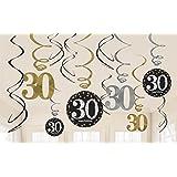 Amscan 670478Gold Celebration 30. Swirl Dekoration Value Pack