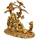 Trendy Crafts™, Handicrafts Gracefull Statue Of Lord Ganesha Resting Under Tree Of Life With Two Peacock Sitting On Top Of Tree For Home Decor Exclusive Gifts Of Corporate Gift,Diwali,use Warming Gift