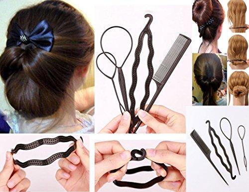 Takestop® - Juego de 4accesorios para el pelo, con peine, clip y horquillas para crear moños o trenzas, para mujer