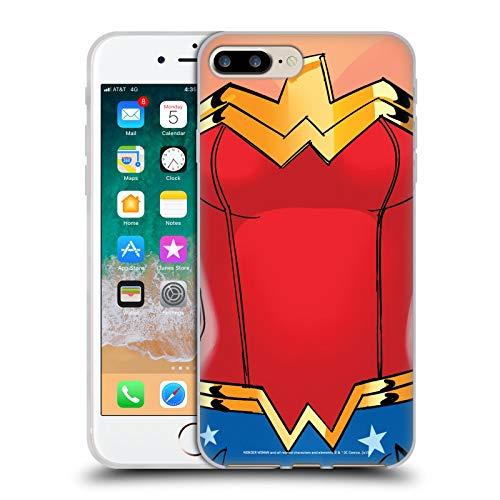 Head Case Designs Offizielle Wonder Woman DC Comics Kostuem Logos Soft Gel Huelle kompatibel mit iPhone 7 Plus/iPhone 8 - Plus Womens Kostüm
