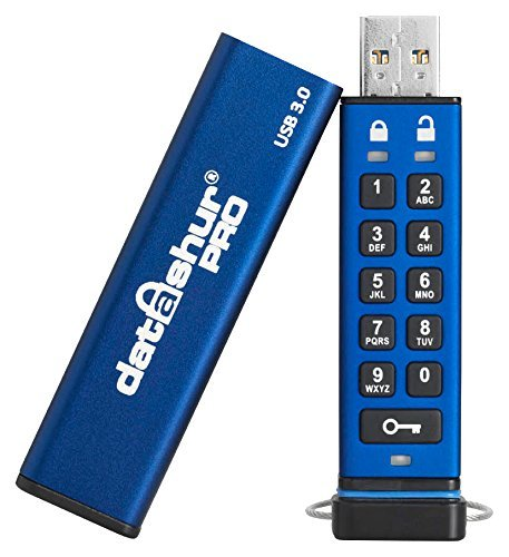 iStorage datAshur Pro verschlüsselter 64GB 3.0 USB-Stick wasserdicht (AES 256-bit Hardware-Verschlüsselung) Speicherstick Blau (Usb-flash-laufwerk-aes-hardware)