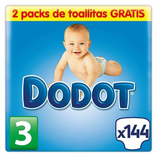 Dodot Pañales para Bebé Talla 3 (5-10 kg) - 140 pañales + 2 paquetes de toallas