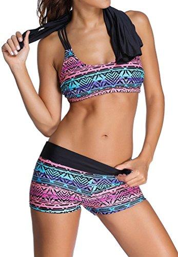 EmilyLe Damen Tribal Print Tankini mit Shorts Sport Yoga Fitness 3-Teilig Bikini Set Multicolor