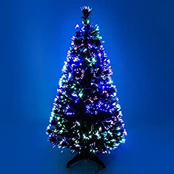 Funkybuys Tall 6ft Black Fibre Optic Christmas Xmas Tree Multicolor