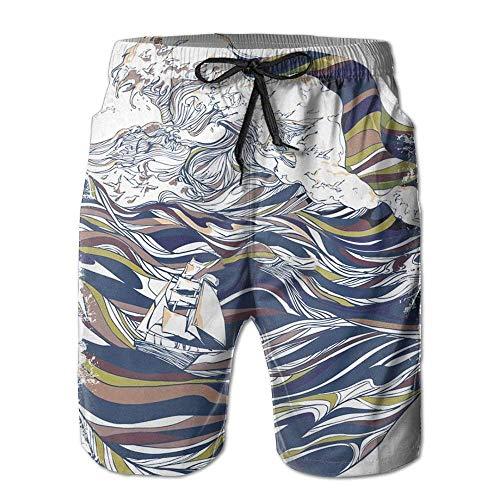 bbelieve Ocean and Lover Boardshorts Herren Sommer Beachwear Badeshorts Lässige Strand Boardshorts Schnelltrocknende Badehose L