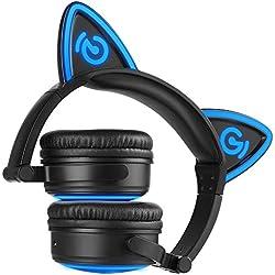 MindKoo Auriculares Inalámbricos de Gato Oreja, Bluetooth Diadema 4.2 Plegable Manos Libre Casco de LED Headphone On Ear con Micrófono Cosplay Regalo Navidad para Jóvenes Niños para iPhone, Android