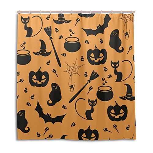 für die Dusche Halloween Katze Ghost Spider Kürbis Muster Print 100% Polyester Stoff 167,6x 182,9cm für Home Badezimmer Deko Dusche Bad Vorhänge mit Kunststoff Haken ()
