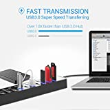 USB 3.0 Hub, APANAGE 11 Ports Powered USB Hub Splitter (7 High Speed Data Transfer Ports + 4 Smart Charging Ports) with Individual On/Off Switches and 48W Power Adapter for MacBook, Surface Laptop, PC (Black)