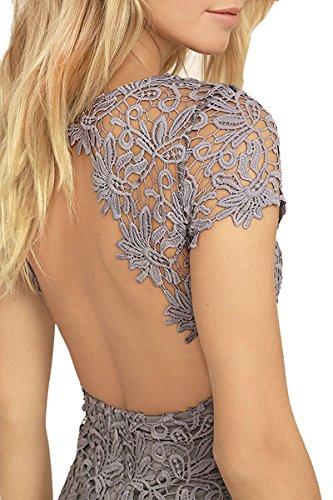 Meyison Damen Vintage Kleid Sommer Spitzenkleid Rückenfrei Minikleid  Cocktailkleid Kurzarm Ballkleid Abendkleid Partykleid 6 Farbe Grau