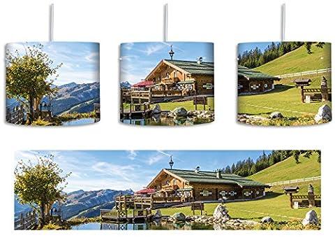 Schönes Haus in den Alpen inkl. Lampenfassung E27, Lampe mit Motivdruck, tolle Deckenlampe, Hängelampe, Pendelleuchte - Durchmesser 30cm - Dekoration mit Licht ideal für Wohnzimmer, Kinderzimmer, Schlafzimmer
