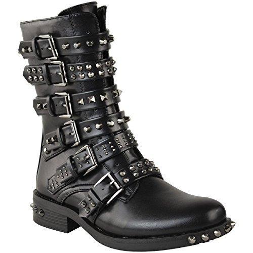 Damen Ankle Boots im Biker-Stil - mit Nieten, Riemen & Schnallen - flach - Schwarz Kunstleder - EUR 36 (Mode-western-schnalle)