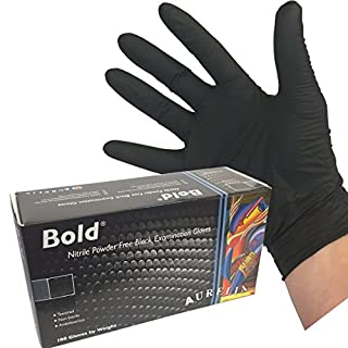 (100 GLOVES) Heavy Duty Black Nitrile Disposable Gloves AQL 1.5 - Tattooist tattoo mechanic (SIZE LARGE)