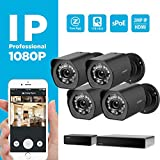 Zmodo 8-channel 1080p HDMI NVR sPoE surveillance system, 4x1080p bullet surveillance cameras for indoor / outdoor use, IP65 waterproof, night vision, motion detector, 1TB HDD