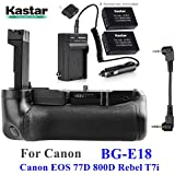 Kastar Pro Multi-Power Vertical Battery Grip + 2X LP-E17 Replacement Batteries + Charger Kit For Canon EOS 77D, EOS 800D, Rebel T7i, Kiss X9i Digital SLR Cameras