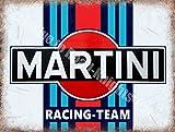 Martini De course Équipe Motorsport Moteur Classique Métal/Panneau Mural Métalique - 30 x 40 cm