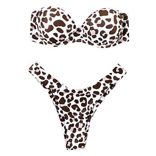DOLDOA Chemiser Damen Streifen Farbe Blocked Bikini Sets Badeanzug mit Boyshorts S-XXL