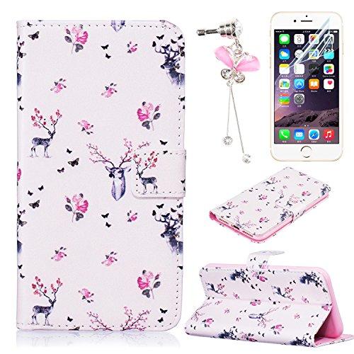 """Etui iPhone 6 Plus (5.5""""), Sunroyal® Portefeuille Housse Coque en Premium PU Cuir Book Style Case Cover de Protection Bumper Portable Shell Motif Prune Fleur Pattern 10"""