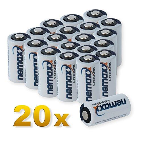 Nemaxx 3V Photo Lithium Batterie CR123A Photobatterie Fotobatterie mit 1700mAh im 20er Pack (10x Blister) Lithium Blister Pack