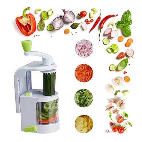 Relaxdays Gemüse Spiralschneider mit Kurbel, 4 Klingen, Multi Gemüseschneider, Kartoffelschneider, Zucchini, weiß/grün